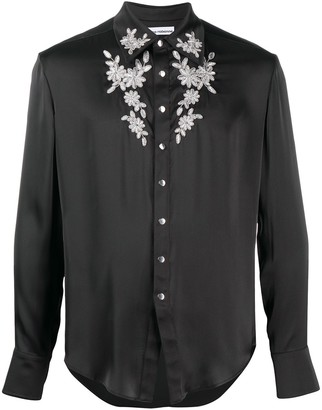 Paco Rabanne Long Sleeve Applique Floral Shirt