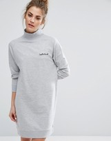 Daisy Street Oversized Sweat Dress With High Neck & Embroidery