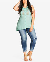 City Chic Trendy Plus Size Lace-Front High-Low Top