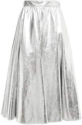 MSGM Gathered Metallic Faux Leather Midi Skirt
