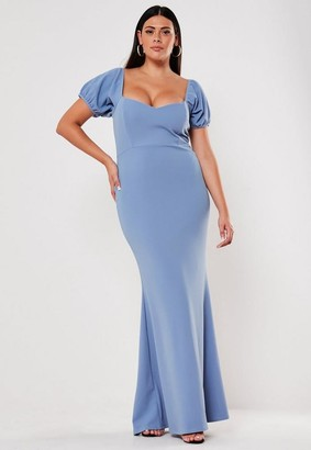 Missguided Size Bridesmaid Blue Sweetheart Puff Sleeve Maxi Dress