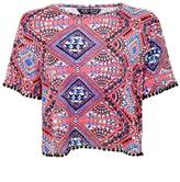 Select Fashion Fashion Womens Multi Marrakesh Tile Pom Pom Tee - size 10