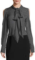 J. Mendel Polka Dot Cold-Shoulder Blouse, Black/White