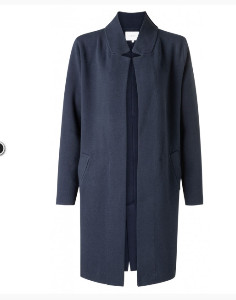 Yaya Clothing Amsterdam - Yaya Long Navy Cotton Coatigan - Extra Small (8) | cotton | navy blue - Navy blue