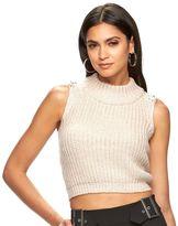 JLO by Jennifer Lopez Women's Metallic Crop Mockneck Sweater