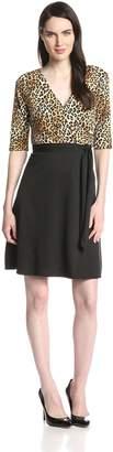 Star Vixen Women's Print Top Solid Skirt Wrap Dress