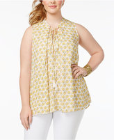 Melissa McCarthy Trendy Plus Size Printed Peasant Blouse
