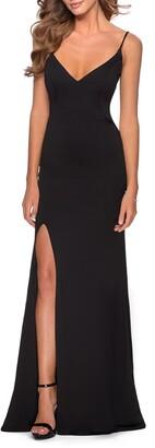 La Femme Strappy Back Jersey Gown