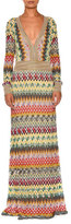 Missoni Striped-Trim Long-Sleeve Deep-V Gown, Multi