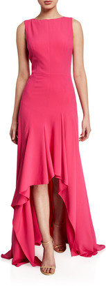 Halston Boat-Neck Sleeveless High-Low Crepe Gown