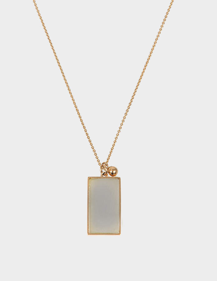 ginette_ny Ever Moonstone Rectangle 18-karat rose gold necklace
