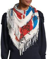 Burberry Sketchbook Colorblock Square Scarf