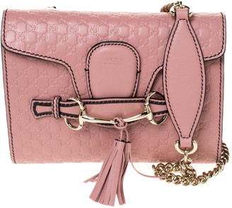 Gucci Pink Mircoguccissima Leather Mini Emily Chain Shoulder Bag