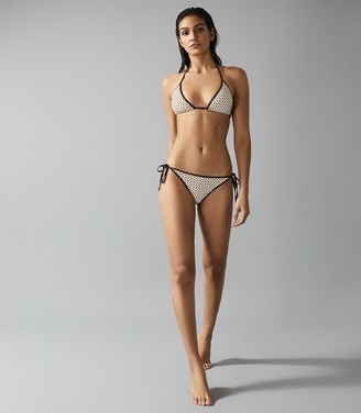 Reiss Nadi - Printed Bikini Briefs in Cream