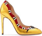 Gucci Metallic leather snake pump