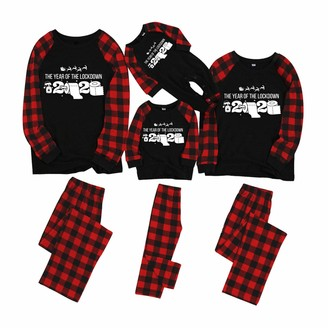 UULIKE Family Christmas Pyjamas SetHarpily Matching Two Pieces Christmas Pjs with Letter and Plaid Printed Long Sleeve Tee and Pants Loungewear