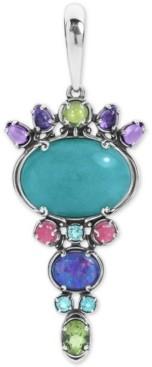 Carolyn Pollack Multi-Gemstone Charm Pendant Enhancer in Sterling Silver