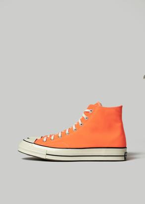 Converse Men's Chuck Taylor 70 Hi Sneaker in Total Orange in Total Orange/Egret/Black Size 8