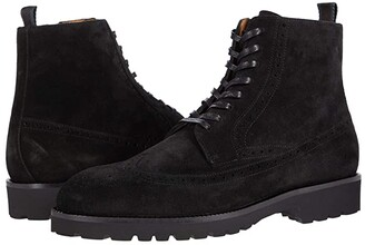 HUGO BOSS Brogue Detail Suede Lace-Up Boot (Black) Men's Boots