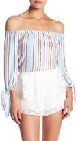 Line & Dot Annabelle Off-the-Shoulder Stripe Shirt