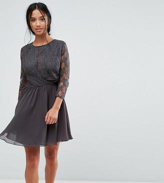 Elise Ryan Petite Ruched Waist Lace Midi Dress With 3/4 Length Sleeve