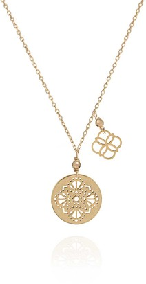 Perle de Lune Art Deco Gold Medal Necklace With Daisy Charm - 18k Gold