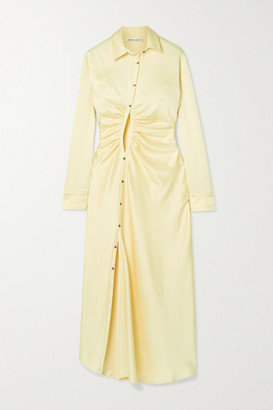 Georgia Alice Universe Cutout Satin Midi Shirt Dress - Off-white