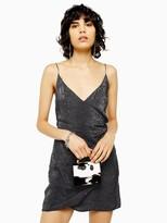 Topshop Snake Print Wrap Mini Slip Dress - Multi