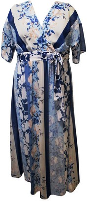 Sandra Darren Elbow Sleeve Belted Maxi Kimono Dress