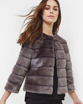 FABUNNI Cropped faux fur jacket