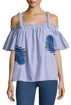 Tanya Taylor Becca Embroidered Off-the-Shoulder Top, Blue/White
