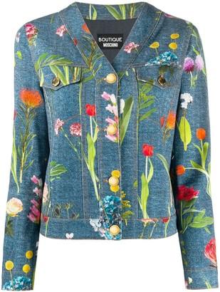 Boutique Moschino Photographic-Floral Denim Jacket