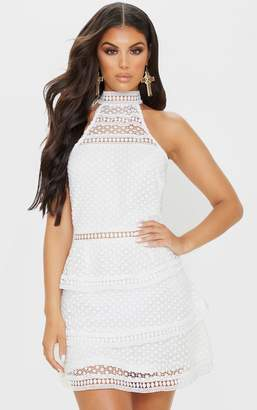 PrettyLittleThing White Lace Panel Tiered Mini Dress
