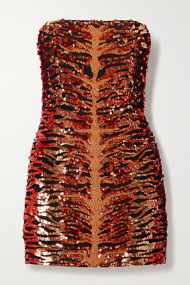 retrofete Aurora Strapless Embellished Sequined Crepe Mini Dress - Black