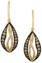 LeVian 14K Yellow Gold Chocolate and White Diamond Drop Earrings