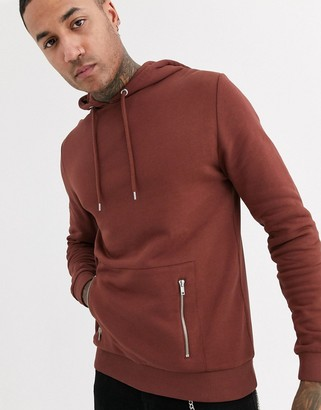 Asos DESIGN hoodie in brown with silver zip pockets