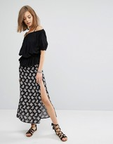 Raga Moon Flower Print Maxi Skirt