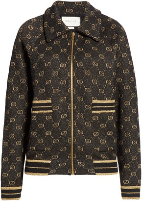 Gucci GG Metallic Jacquard Wool & Cotton Bomber Jacket