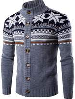 jeansian Men's Button Down Sweater Knitted Cardigan 88G5 LightGray L