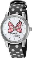 Disney Women's 'Minnie Mouse' Quartz Metal and Nylon Automatic Watch, Color: (Model: W002878)