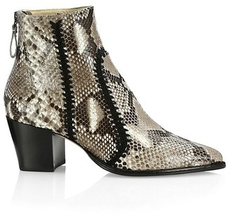 Alexandre Birman Benta Embroidered Python Ankle Boots