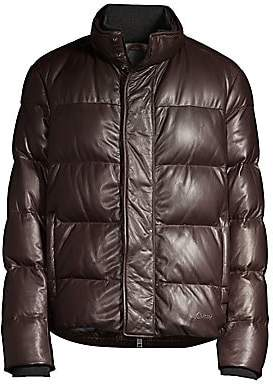 Brioni Men's Goose Down Leather Puffer Jacket
