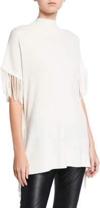 Elie Tahari Cyrus Fringe Short-Sleeve Sweater