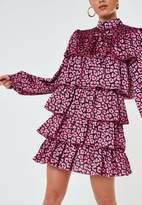 Missguided Pink Leopard Satin High Neck Tiered Smock Dress