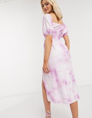 The East Order joplin tie dye midi dress with side split in violet tie dye
