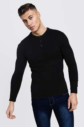 boohoo Regular Long Sleeve Knitted Polo