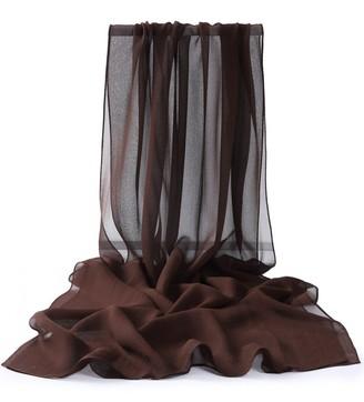 Prettystern Uni-colour Women Plain Fine 180cm Long Georgette Silk Scarf Shawl For Evening Dress And Leisur Pure White