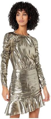 ML Monique Lhuillier Ruched Long Sleeve Metallic Dress (Gold Metallic) Women's Dress