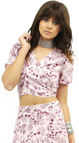 West Coast Wardrobe Prairie Fields Tie Front Tie Dye Top in Print
