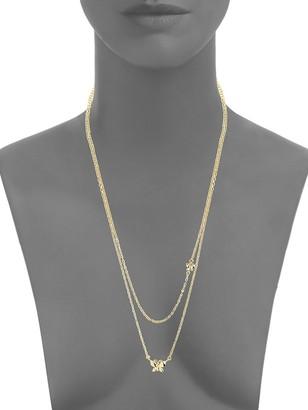 Sterling Forever Butterfly Two-Tier 14K Goldplated Necklace